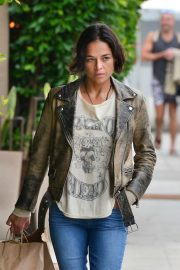 Michelle Rodriguez - Leaves Giorgio Baldi Restaurant in Santa Monica