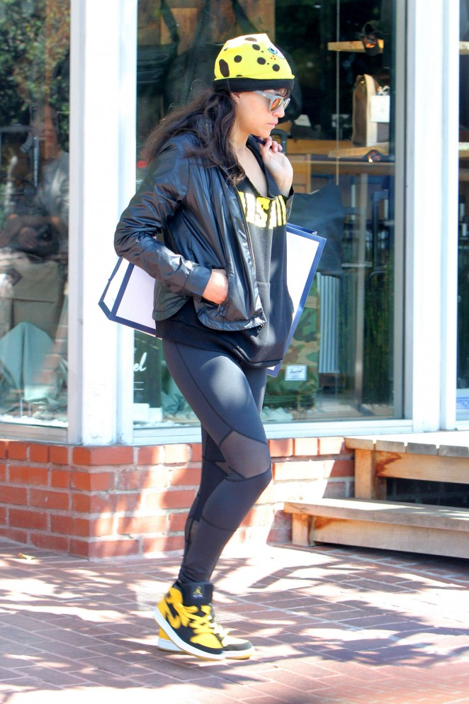 Michelle Rodriguez in Leggings - Leaving Fred Segal in West Hollywood