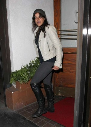Michelle Rodriguez in Tights at Madeo Restaurant Los Angeles