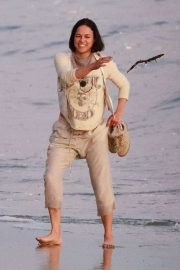 Michelle Rodriguez - On the beach with her friends in Malibu