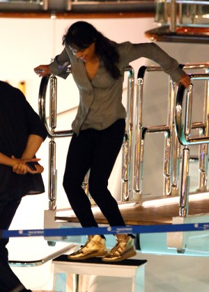 Michelle Rodriguez - Partying on a Boat in Ibiza