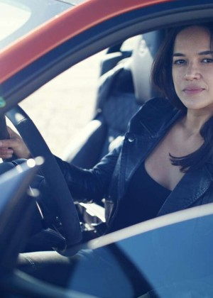 Michelle Rodriguez Test Driving in Nevada