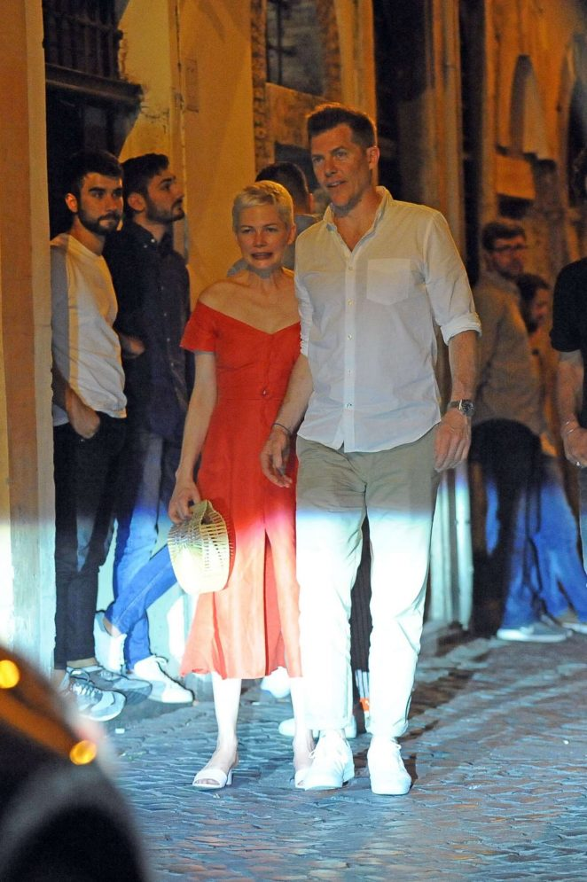 Michelle Williams in Red Dress out for dinner in Rome