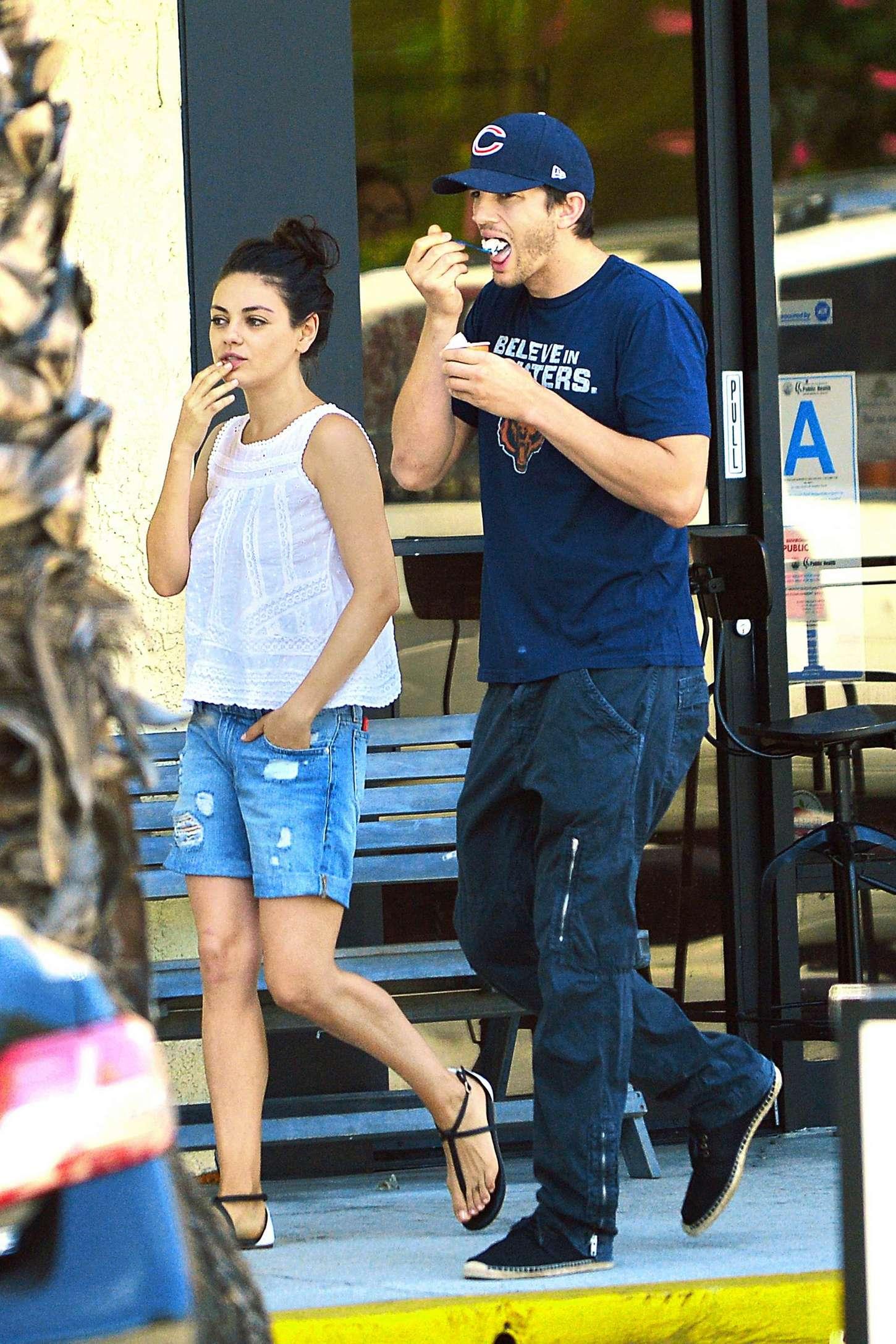 Mila Kunis and Ashton Kutcher at Spa Date in Studio City