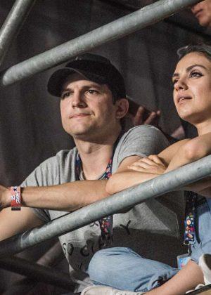 Mila Kunis and Ashton Kutcher at the Wiz Khalifa concert in Budapeste