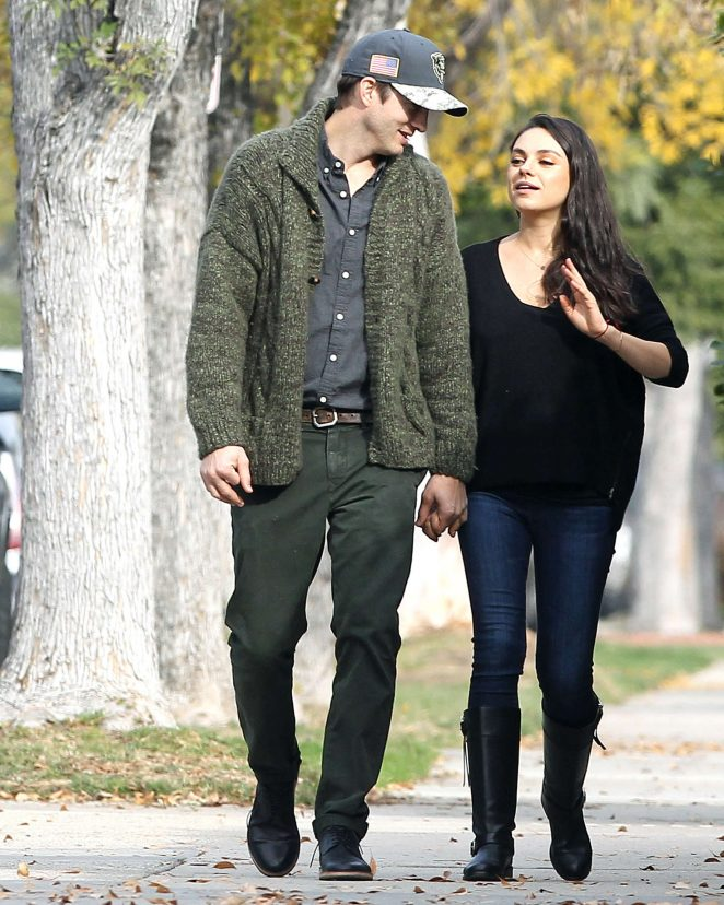 Mila Kunis and Ashton Kutcher out for a walk in LA