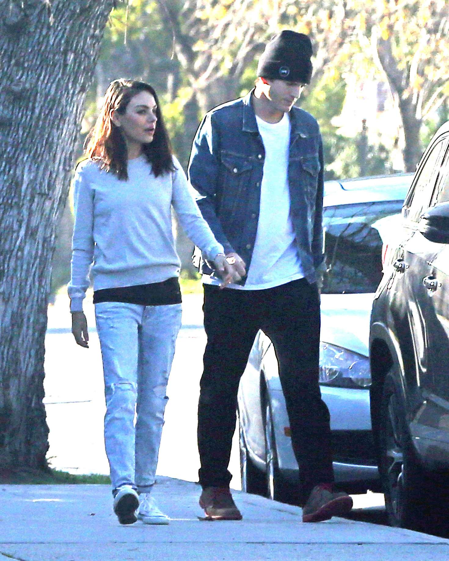 Mila Kunis and Ashton Kutcher - Out for a walk in Los Angeles