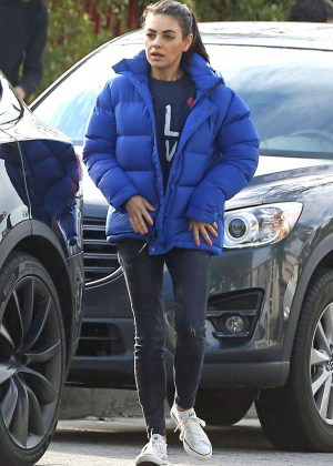 Mila Kunis in Blue Jacket - Out in Los Angeles