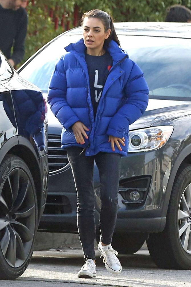 Mila Kunis in Blue Jacket - Out in Los Angeles