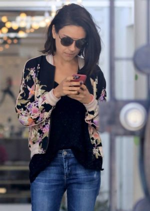 Mila Kunis in Jeans at the hair salon in West Hollywood