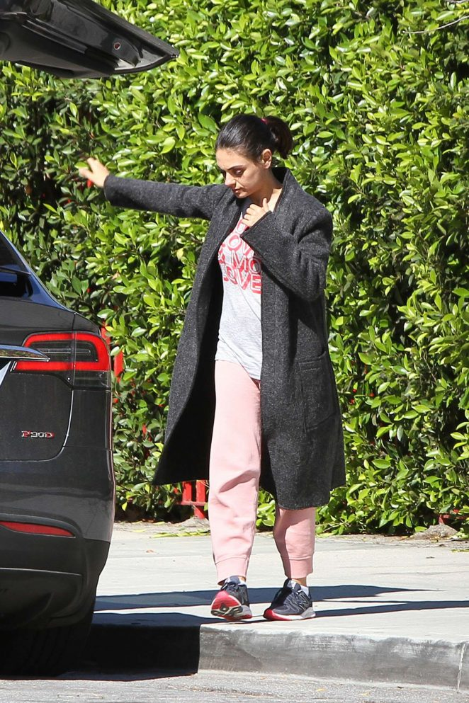 Mila Kunis in Long Coat out in LA