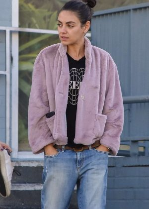 Mila Kunis in Purple Jacket - Shopping in Studio City