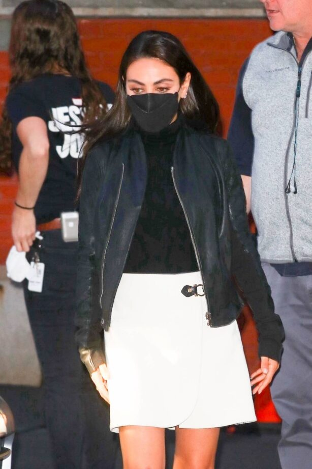Mila Kunis - In white skirt and leather jacket on set of 'Luckiest Girl Alive' in New York City