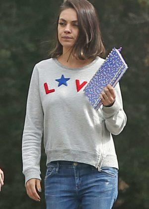 Mila Kunis - Out in a Love Sweatshirt in LA