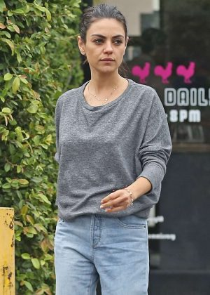 Mila Kunis - Stops to get coffee in Burbank