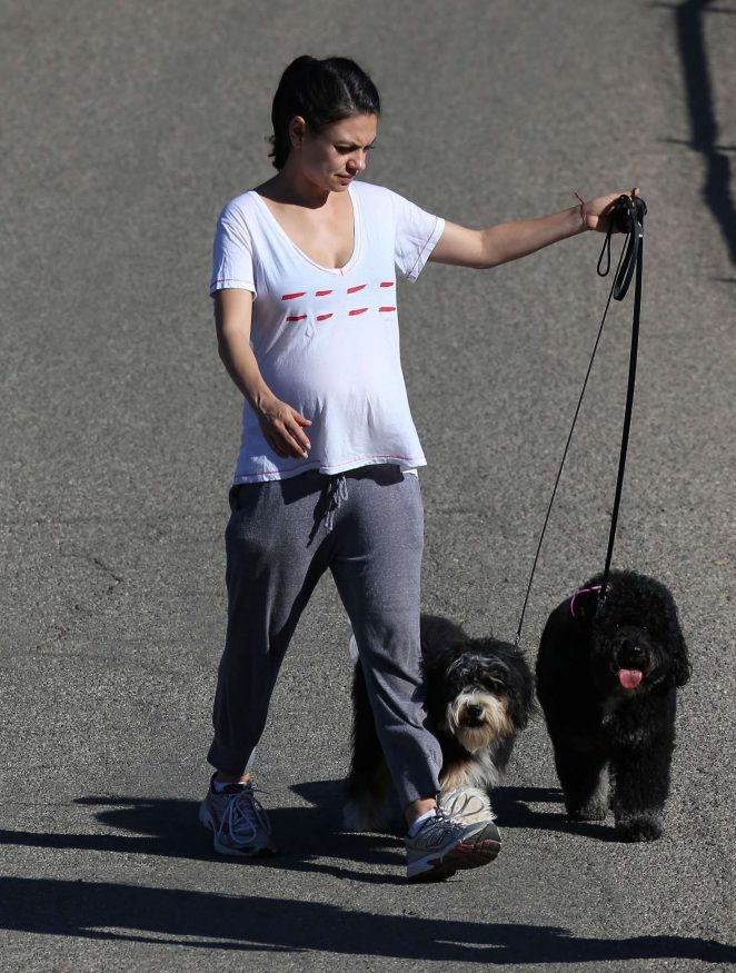 Mila Kunis - Walking her Dogs in Los Angeles