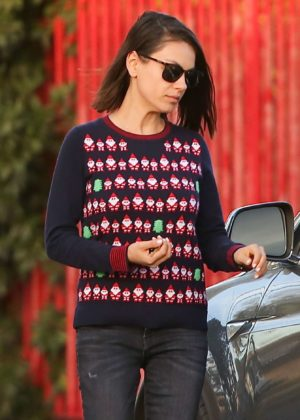 Mila Kunis - Wearing a Christmas sweater in LA
