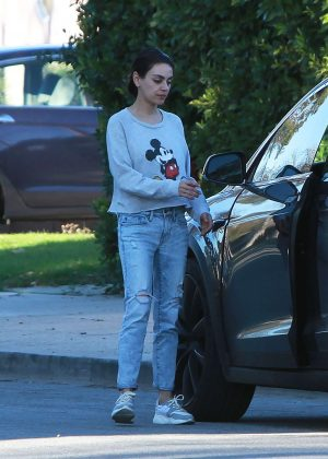 Mila Kunis - Wearing a Mickey Mouse sweater in Los Angeles