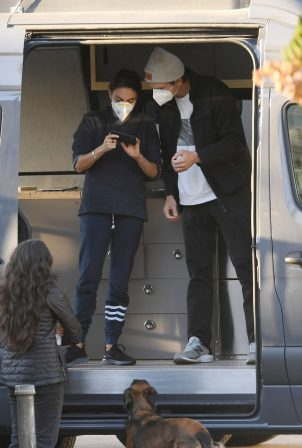 Mila Kunis - With Ashton Kutcher pick up their luxury camper van in Los Angeles