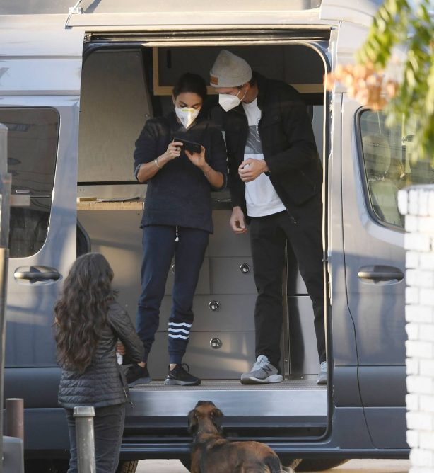 Mila Kunis - With Ashton Kutcher pick up their luxury camper van in Los Angeles
