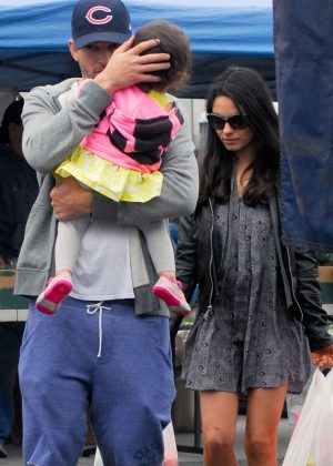 Mila Kunis with family at the farmers market in Los Angeles