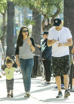 Mila Kunis with family out in Beverly Hills