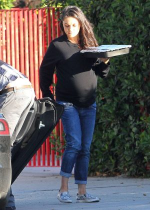 Mila Kunis with her family out in Studio City