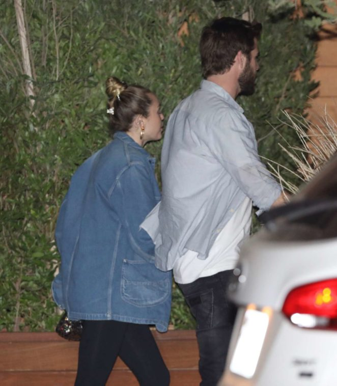 Miley Cyrus and Liam Hemsworth at Nobu in Malibu