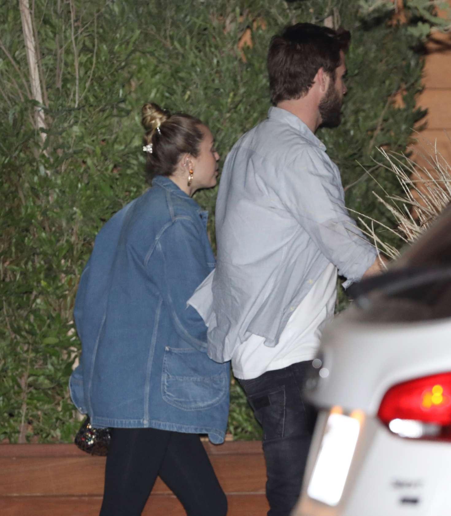 Miley Cyrus and Liam Hemsworth at Nobu in Malibu