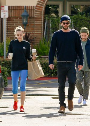 Miley Cyrus and Liam Hemsworth at Ollo restaurant in Malibu