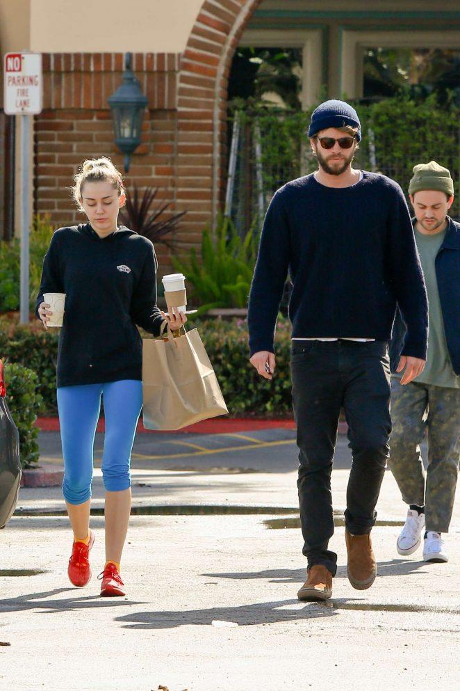 Miley Cyrus and Liam Hemsworth at Ollo restaurant in Malibu