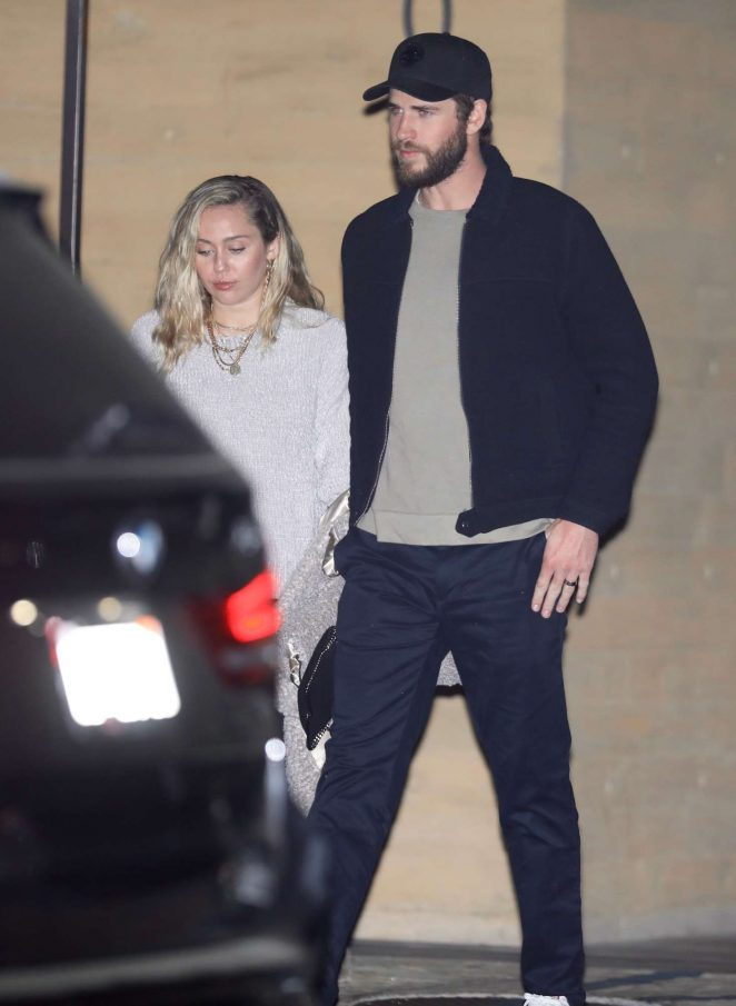 Miley Cyrus and Liam Hemsworth – Night out in LA