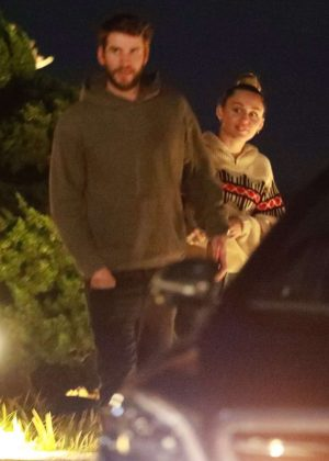 Miley Cyrus and Liam Hemsworth - Out for dinner at Nobu in Malibu