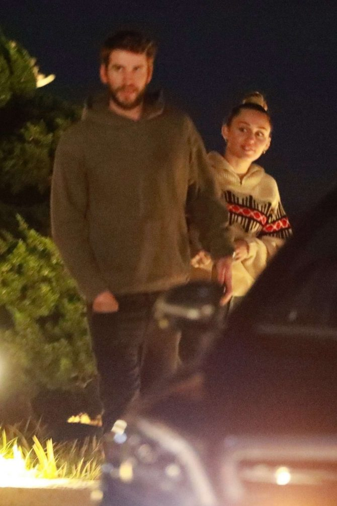 Miley Cyrus and Liam Hemsworth – Out for dinner at Nobu in Malibu