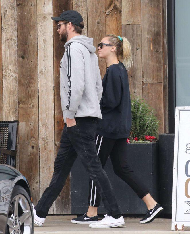 Miley Cyrus and Liam Hemsworth - Shopping in Malibu