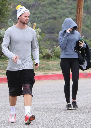Miley Cyrus and Patrick Schwarzenegger - Hiking at Runyon Canyon Park in LA