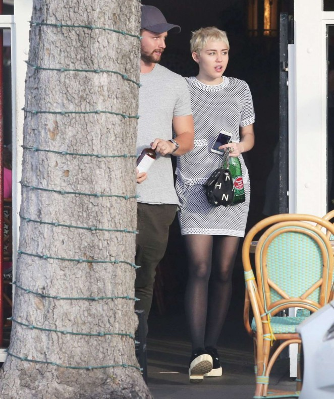 Miley Cyrus and Patrick Schwarzenegger Leaves Restaurant in Los Angeles