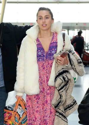 Miley Cyrus in Long Dress at JFK Airport in NYC