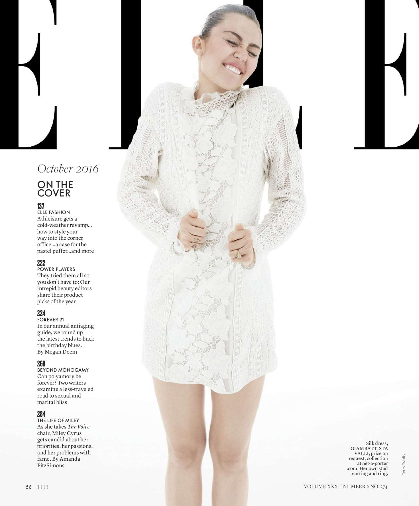 Miley Cyrus - Elle Magazine (October 2016) adds
