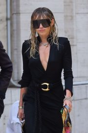 Miley Cyrus in Black Dress - Out in NYC