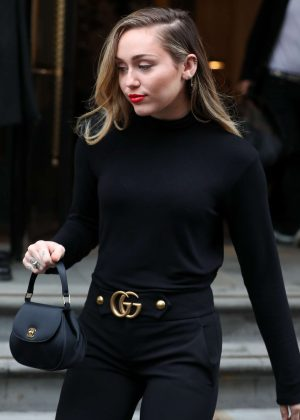 Miley Cyrus in Black Outfit - Out in London