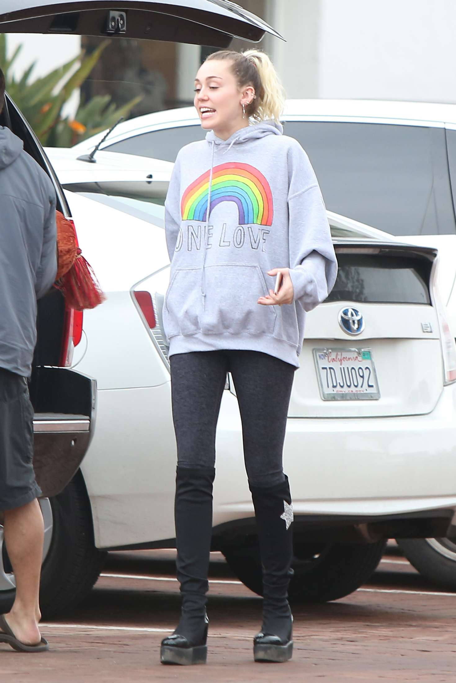 Miley Cyrus in Black Tights out in Malibu