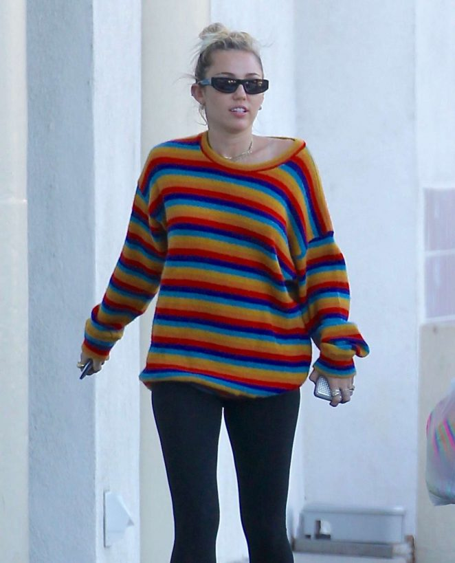Miley Cyrus in Black Tights out in Porter Ranch