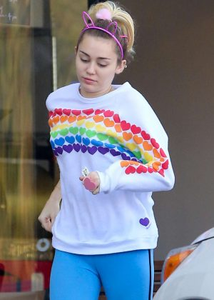 Miley Cyrus in Blue Tights Out in LA