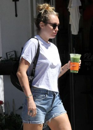 Miley Cyrus in Denim Shorts out in Studio City