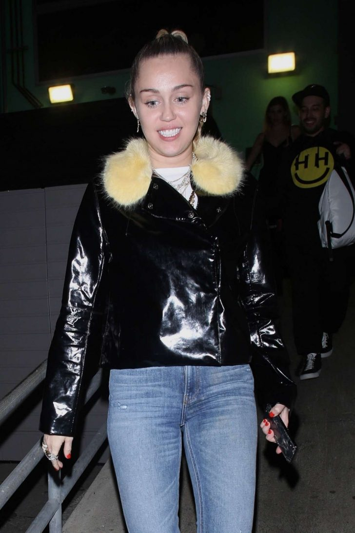 Miley Cyrus in Jeans - Exiting from TomTom Bar in West Hollywood
