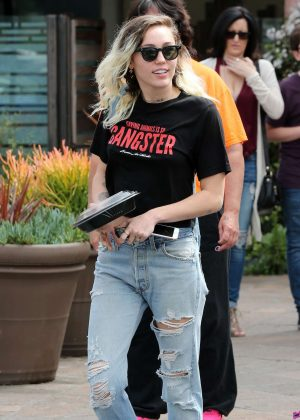 Miley Cyrus in Jeans Out for lunch in Malibu
