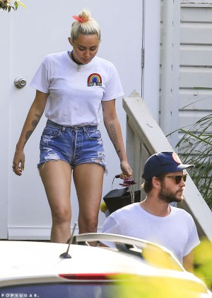 Miley Cyrus in Jeans Shorts -01