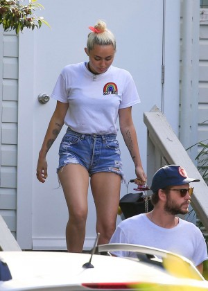 Miley Cyrus in Jeans Shorts -03