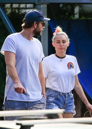 Miley Cyrus in Jeans Shorts -04